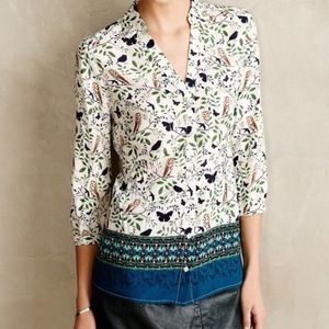 Anthropologie Woodland Walk Owl Print Blouse